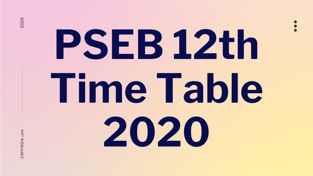 PSEB_12th_Time_Table_2020