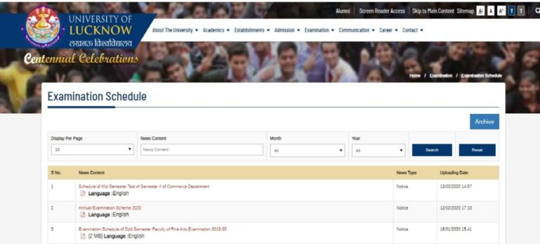 Lucknow University Time Table