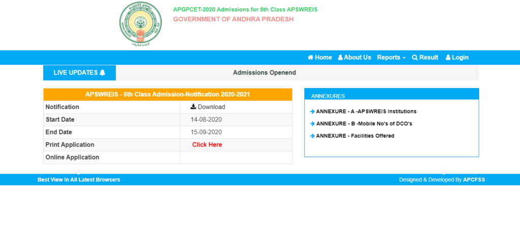 APSWREIS-5th-Class-Admission-Result-2020