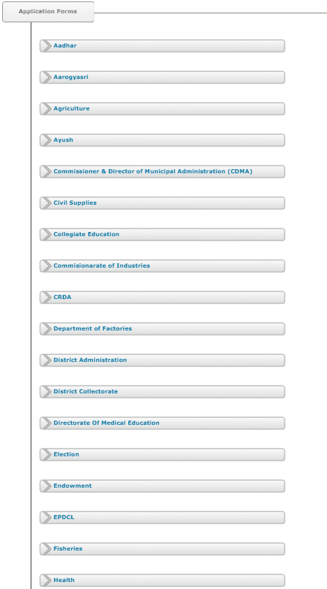 list of application form